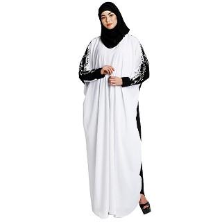 Layered abaya with embroidery work-White-Black