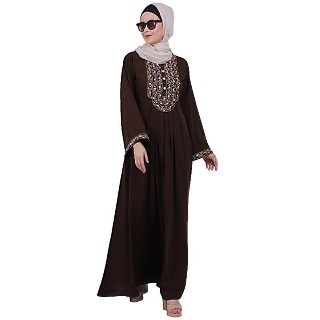 Firdaws Pintuck embroidery abaya- Coffee Brown