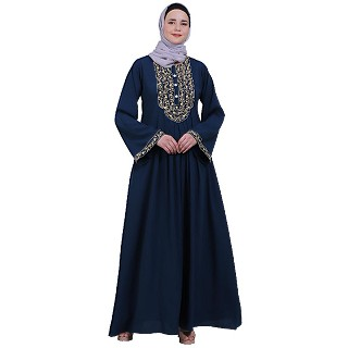 Firdaws Pintuck embroidery abaya- Teal