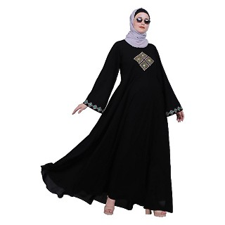 Emirates Umbrella abaya with embroidery work - Black