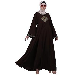 Emirates Umbrella abaya with embroidery work- Coffee Brown