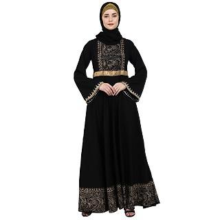 Designer Block printed Umbrella abaya- Black