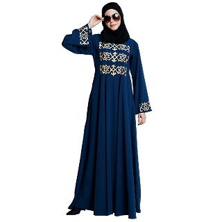 Umbrella abaya with golden embroidery work - Teal