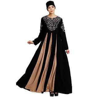 Umbrella abaya with embroidery work - Black-Khaki