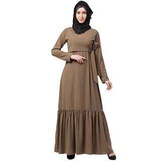 Designer Frilled abaya- Beige