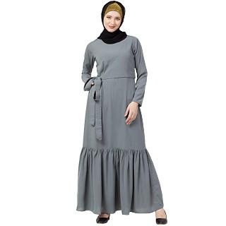 Designer Frilled abaya- Grey