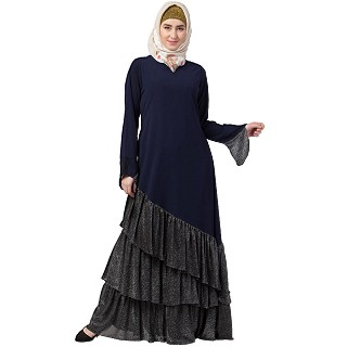 Designer Frilled abaya- Navy Blue