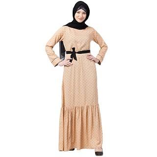 Polka dotted frilled abaya- Beige