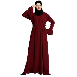 Casual frilled abaya- Maroon