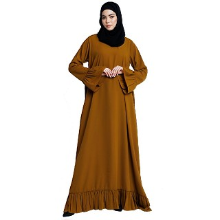 Casual frilled abaya- Mustard