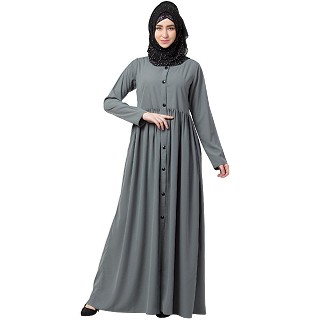 Front open abaya with pintucks- Grey