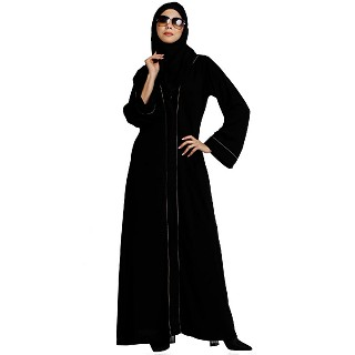 Front open abaya with piping work- Black