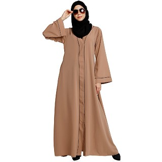Front open abaya with piping work- Khaki