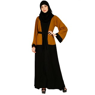 Dual colored Layered abaya- Mustard-Black