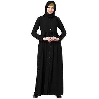 Front open abaya with pintucks- Black