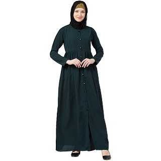 Front open abaya with pintucks- Bottle Green