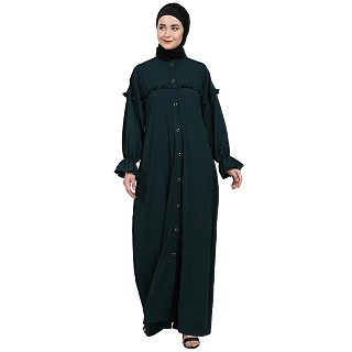 Front open classic frill abaya- Bottle Green