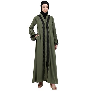 Front open abaya with black lace- Jade Green