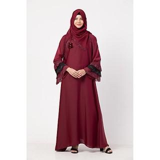 Stonework Umbrella abaya with matching Hijab- Maroon