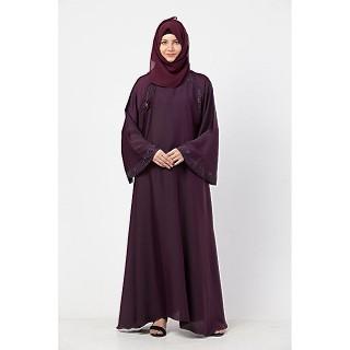 Stonework Umbrella abaya with matching Hijab- Purple