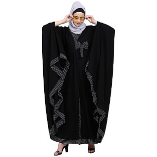 Kaftan abaya with polka dots- Black