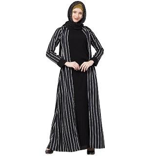Double layered striped abaya- Black