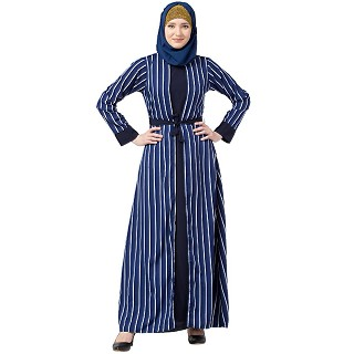 Double layered striped abaya- Navy Blue