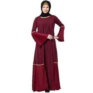 Double layered pleated abaya- Maroon