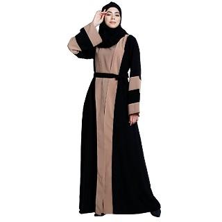 Dual colored Dubai style abaya- Black-Khaki
