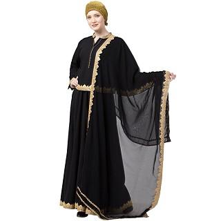 Lehenga abaya with matching Hijab- Black