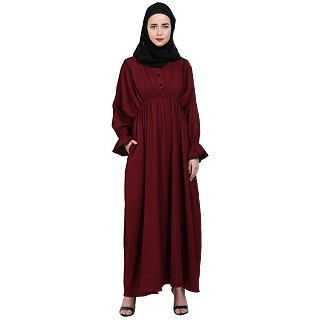 Loose fit Crinkle abaya- Maroon