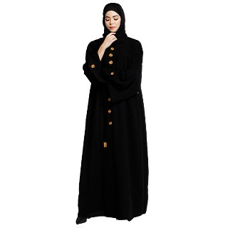 Loose fit abaya with embroidery button work- Black