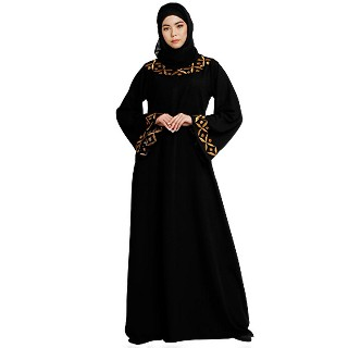 Classic abaya with embroidery work- Black
