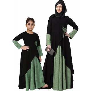 Polka dotted asymmetrical matching combo dress for mother and daughter- Green-black