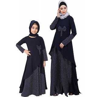 Polka dotted asymmetrical matching combo dress for mother and daughter- Navy-blue