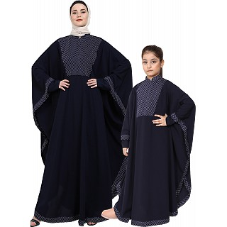 Indo Classic Mother and Daughter matching combo Kaftan-Navy Blue
