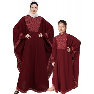 Indo Classic Mother and Daughter matching combo Kaftan-Maroon