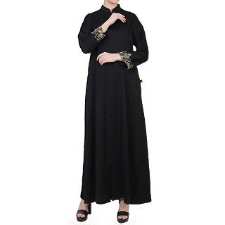 Designer Front open abaya with handwork- Black-Gold