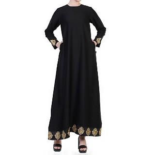 A-line Nida abaya with Golden lacework- Black