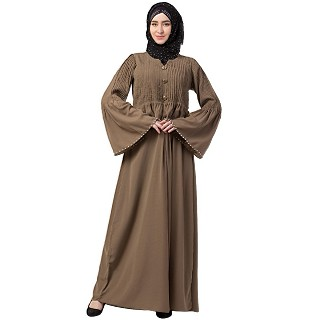 Designer Pintuck abaya with pearl work- Beige
