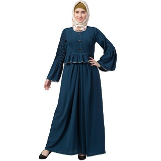 Designer Pintuck abaya with pearl work- Teal Green