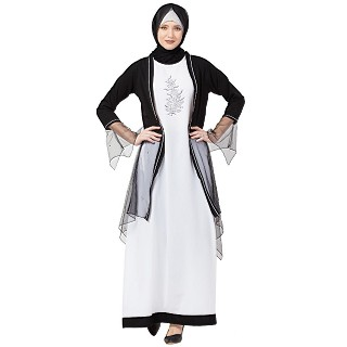 Designer Shrug with Inner abaya- Black-White