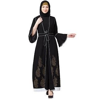 Printed Shrug with Inner abaya- Black