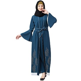 Printed Shrug with Inner abaya- Teal Green