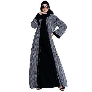 Shrug combo abaya- Black-White