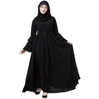 Umbrella abaya with bell sleeves- Black
