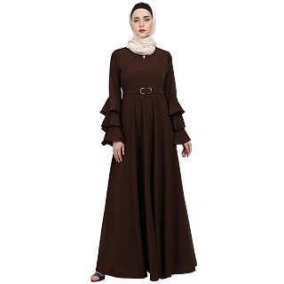 Umbrella abaya with bell sleeves- Coffee Brown