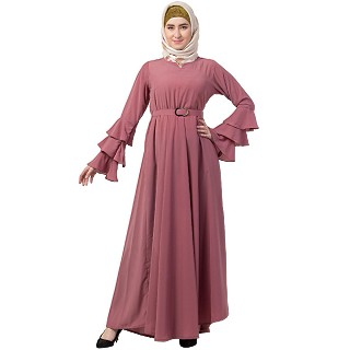 Umbrella abaya with bell sleeves- Puce Pink