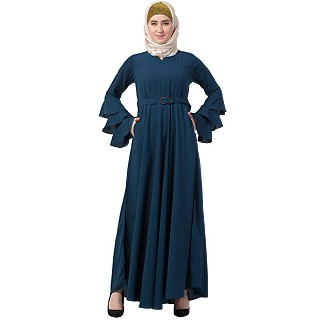 Umbrella abaya with bell sleeves- Teal Green