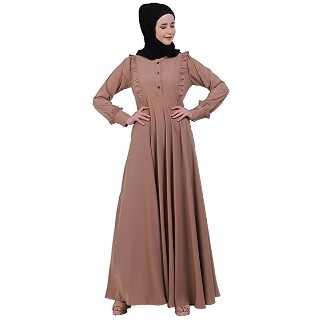 Umbrella abaya with frills- Beige